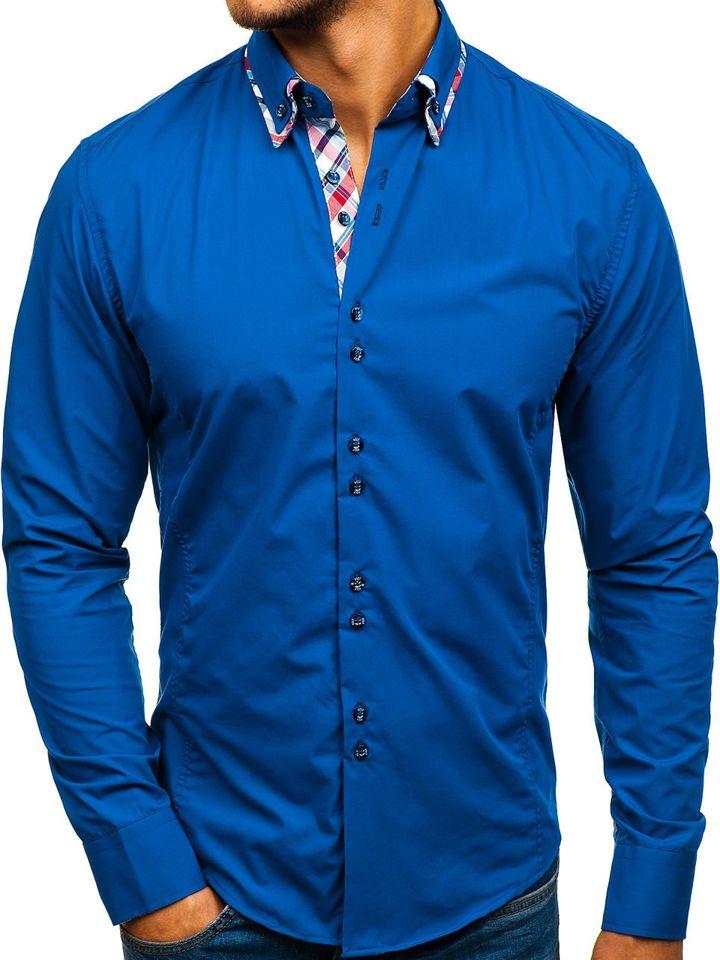 Cămașă elegantă pentru bărbat cu mâneca lungă albastră-deschisă Bolf 4704-1