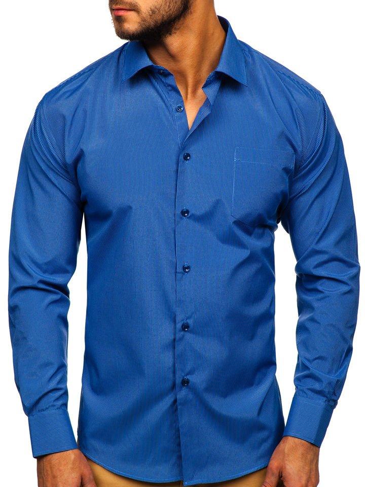Cămașă elegantă în dungi bărbați albastră Bolf NDT9