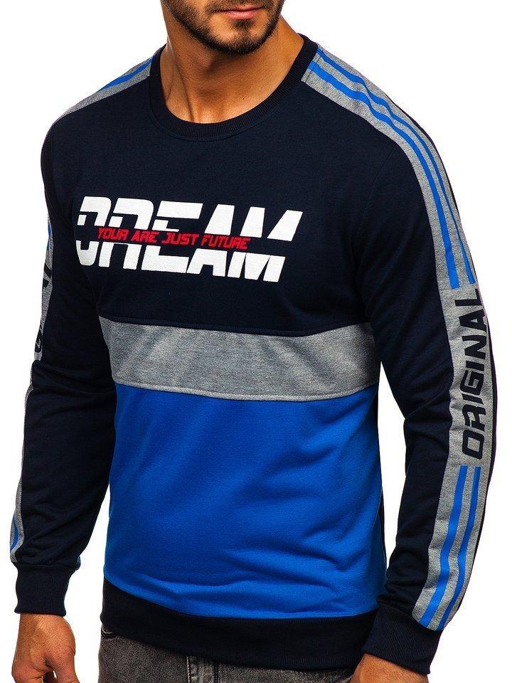 Bluza cu imprimeu bărbati albastra Bolf HY542