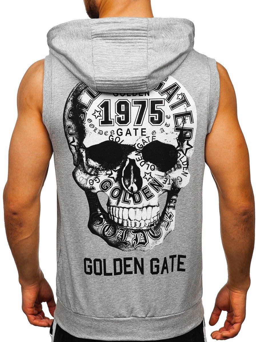 Tricou gri cu imprimeu bărbati Bolf KS7363