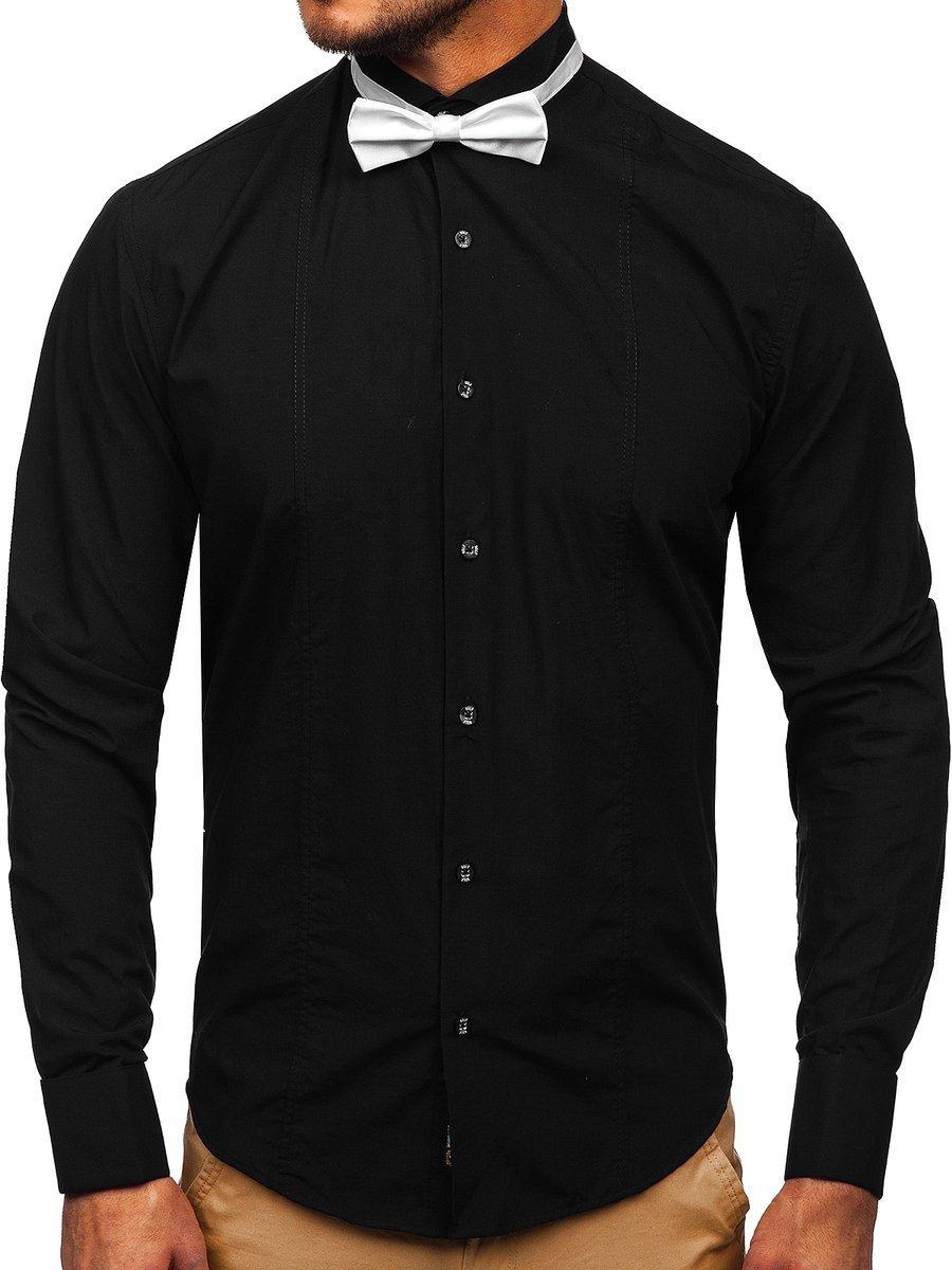 Cămașă elegantă pentru bărbat cu mâneca lungă neagră Bolf 4702 papion+set butoni