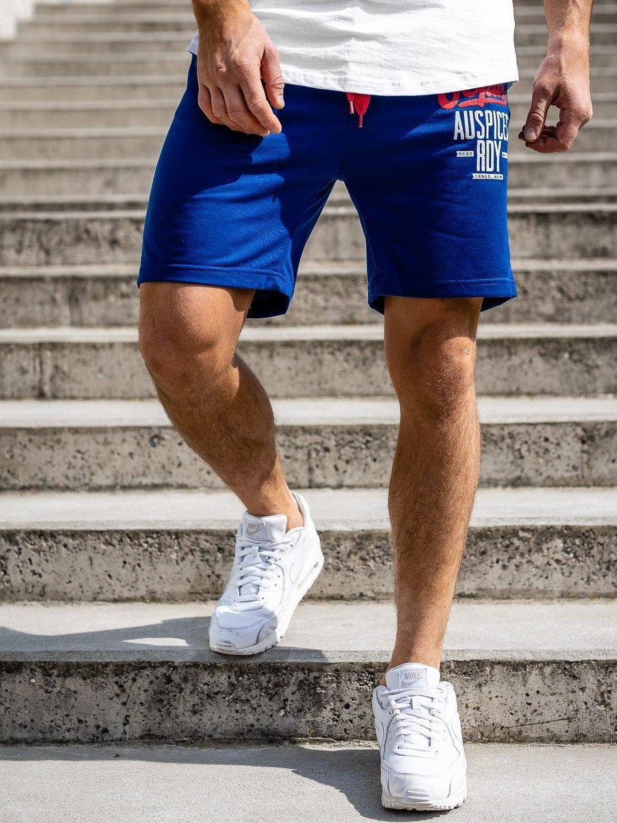 Pantaloni scurți sportivi pentru bărbat albaștri Bolf EX07 imagine