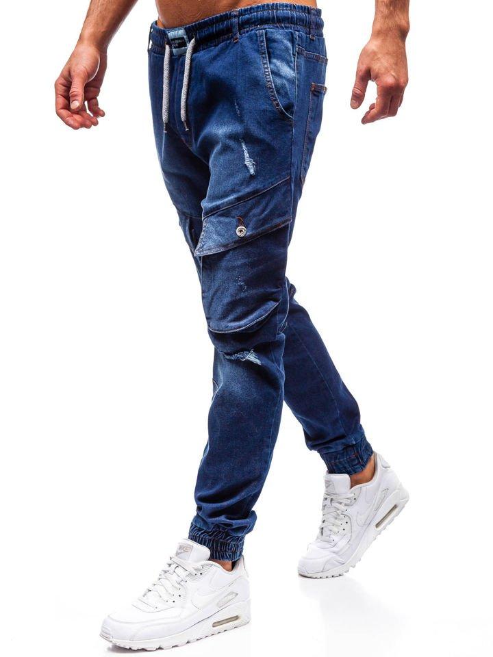 Jogger jeans pentru bărbat bleumarin Bolf 2048