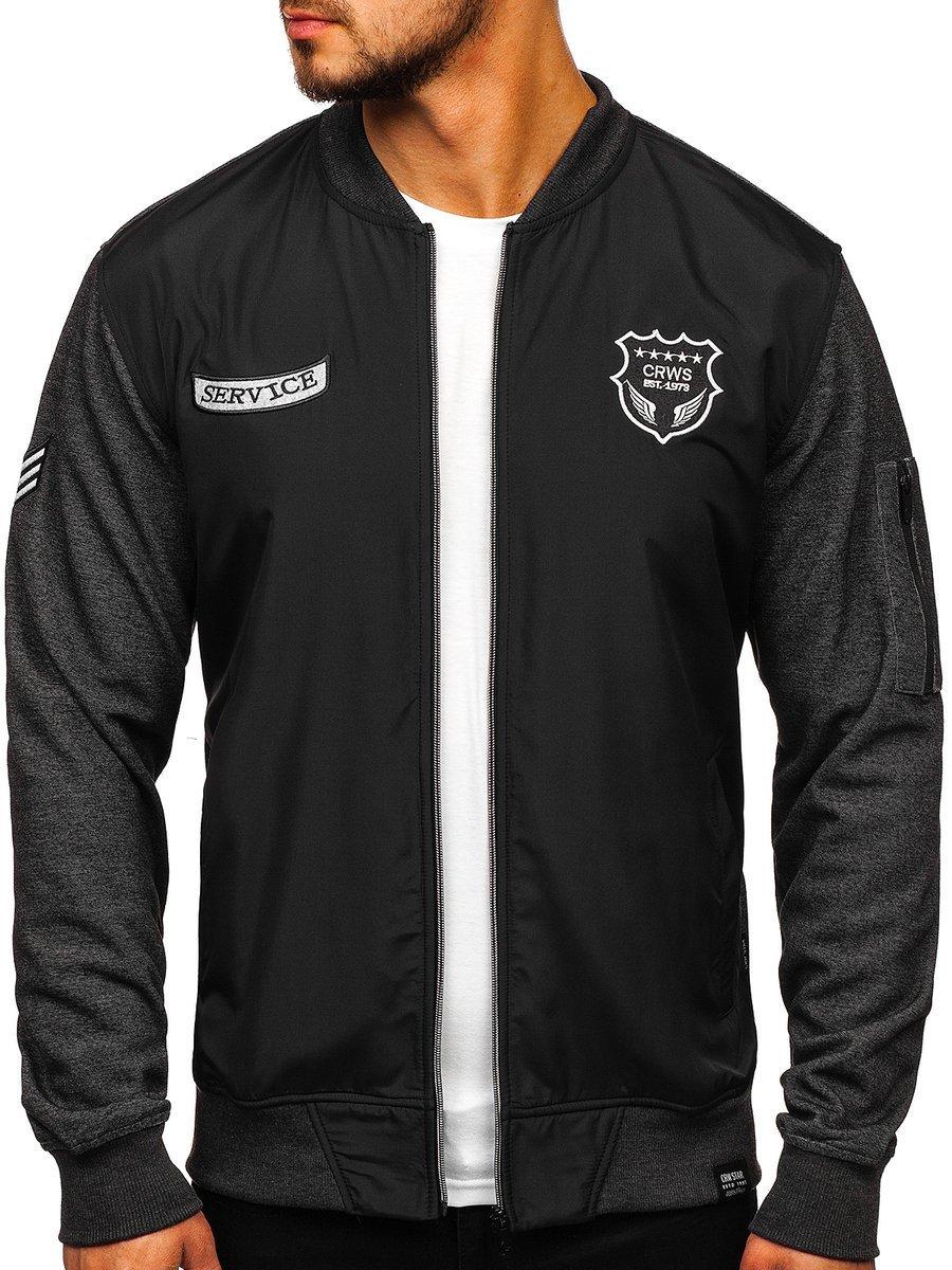 Bluza cu imprimeu bărbați neagra Bolf 3803