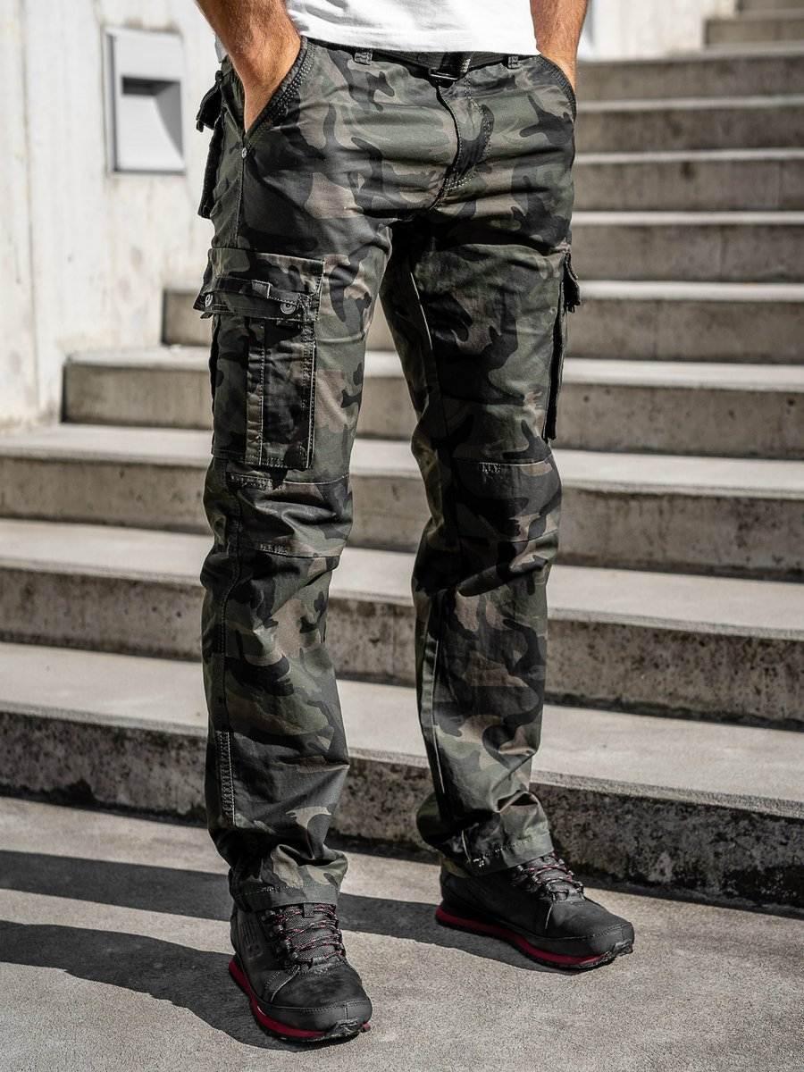 Pantaloni cargo cu curea verzi Bolf 2096 imagine