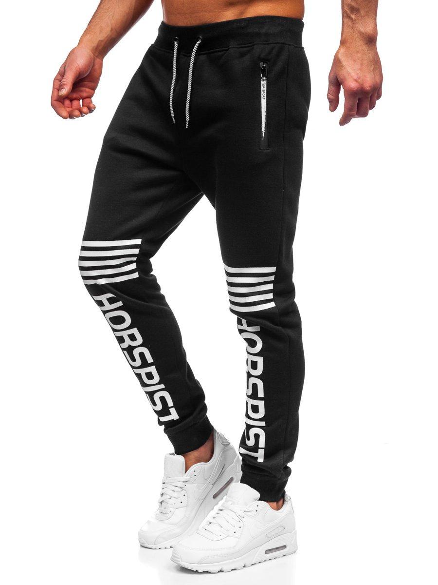 Pantaloni de trening negri-albi Bolf K10012 imagine