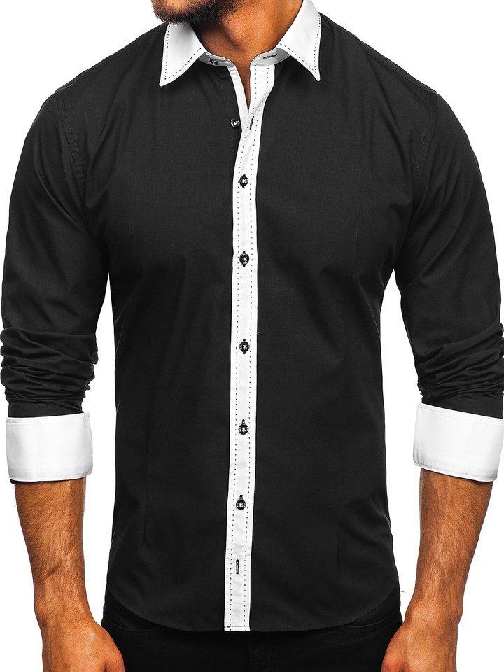 Cămașă elegantă cu mâneca lungă pentru bărbat neagră Bolf 6882