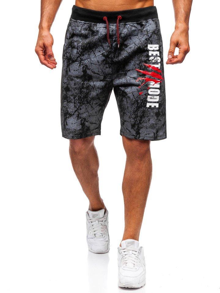Pantaloni scurți de trening bărbați negri Bolf NP08
