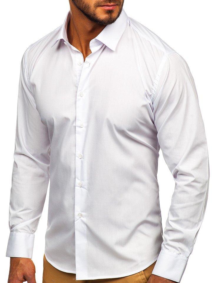 Cămașă elegantă bărbați alb Bolf 0001 imagine