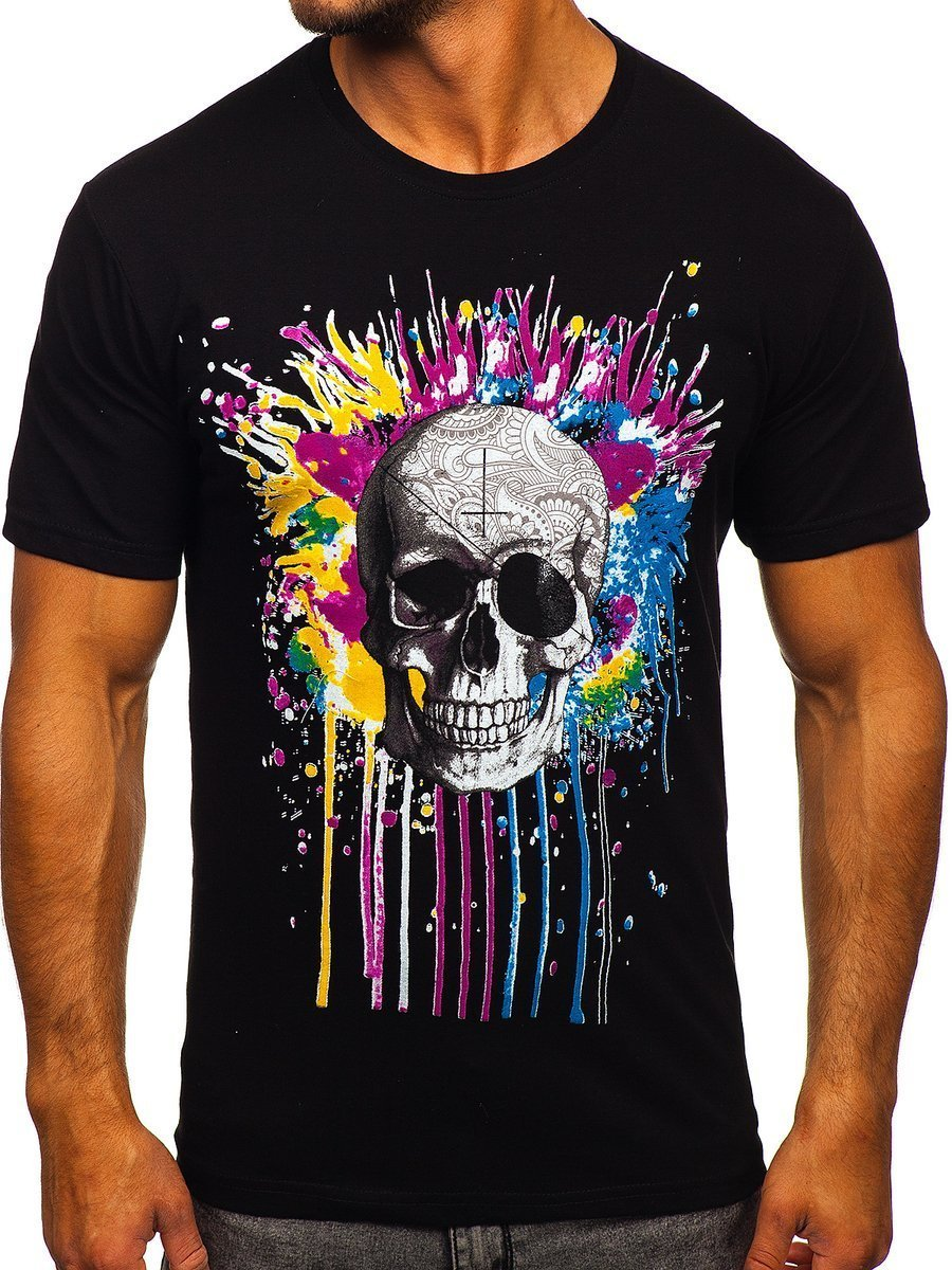 Tricou negru cu imprimeu bărbați Bolf 142170 imagine