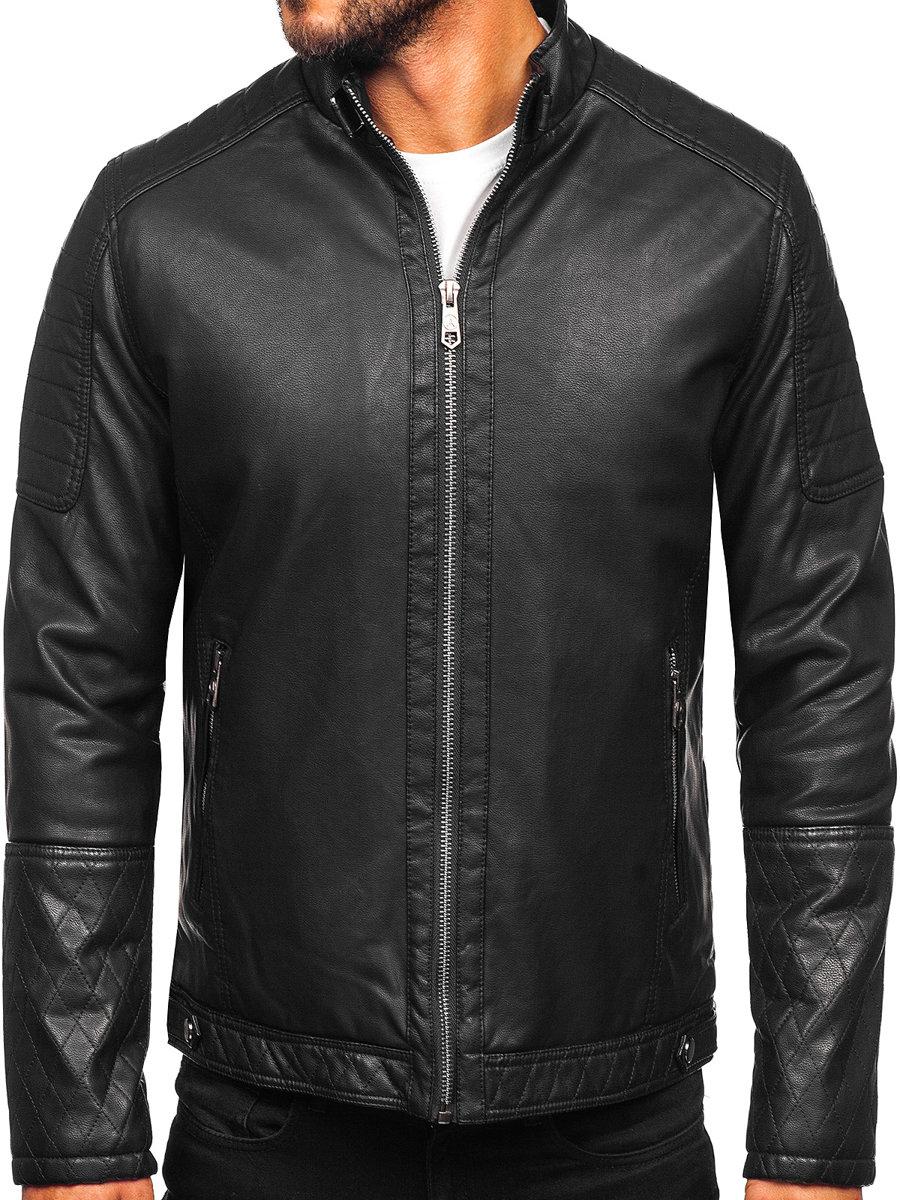 Geacă de piele biker izolata termic neagra Bolf 92535