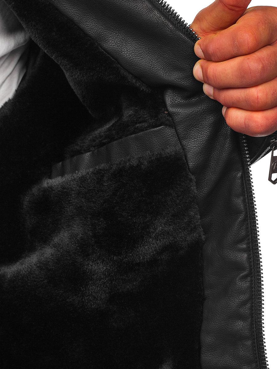 Geacă de piele biker izolata termic neagra Bolf 92535 imagine
