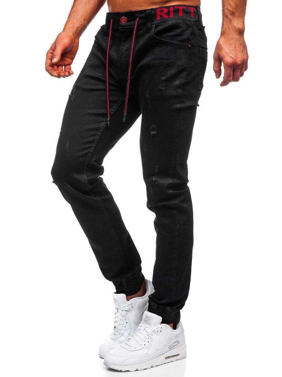 Blugi joggers negri bărbați Bolf 60025W0 imagine