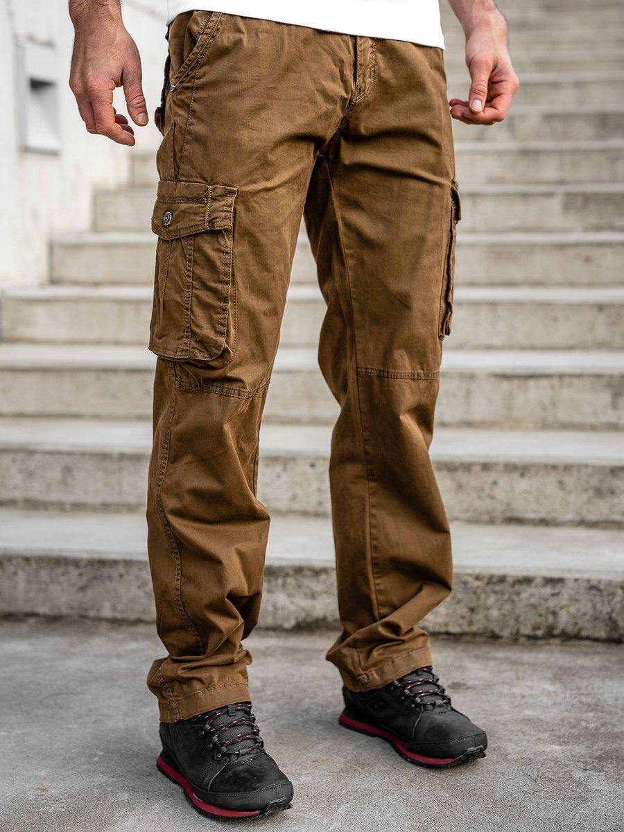 Pantaloni maro cargo cu curea Bolf CT8906 imagine