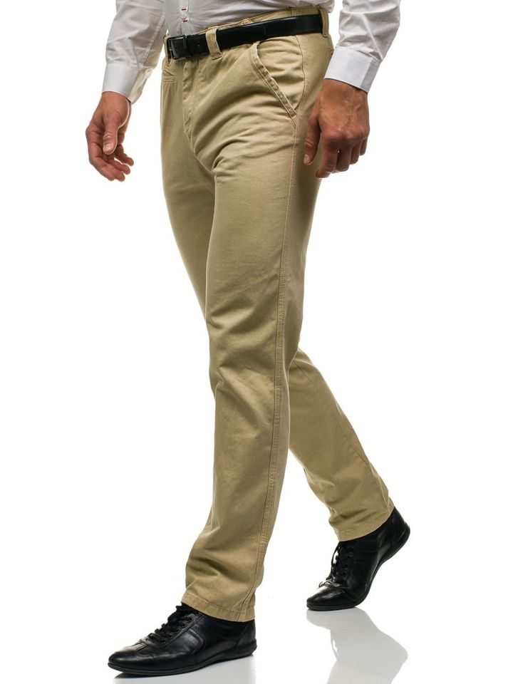 Pantaloni pentru bărbat slim fit bej Bolf 6190