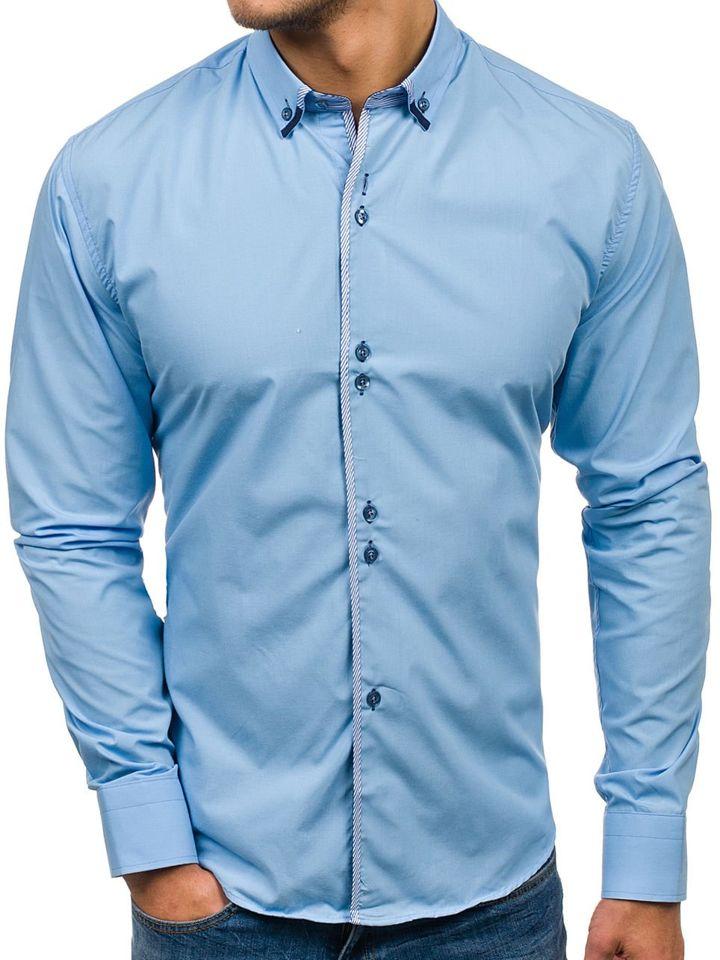 Cămașă elegantă pentru bărbat cu mâneca lungă albastru-deschis Bolf 5811