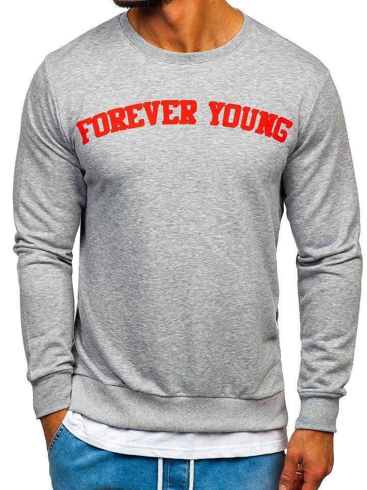 Bluză bărbați cu imprimeu FOREVER YOUNG gri Bolf 11116 imagine