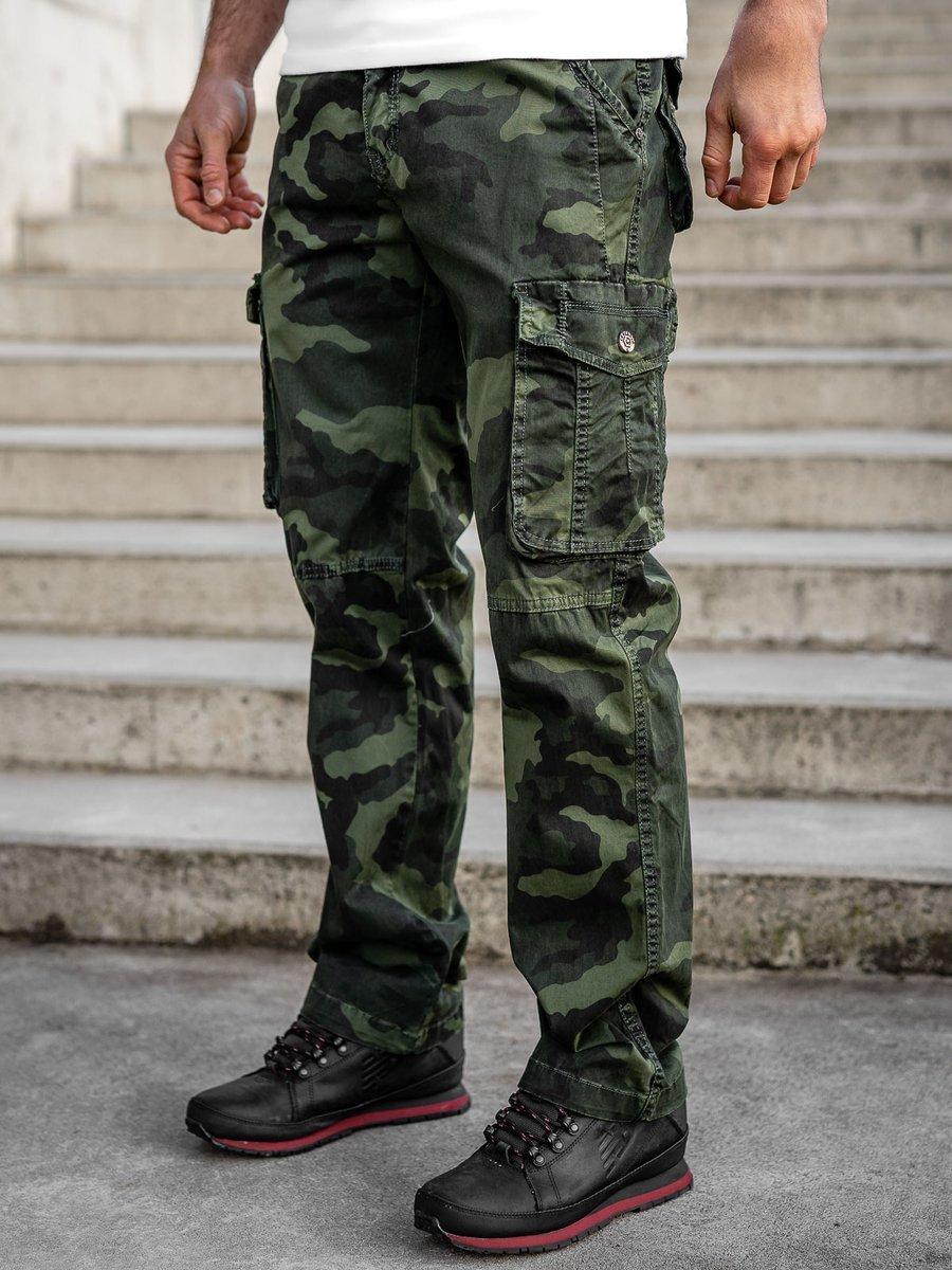 Pantaloni plus size verde-inchis cargo cu curea Bolf CT8501 imagine