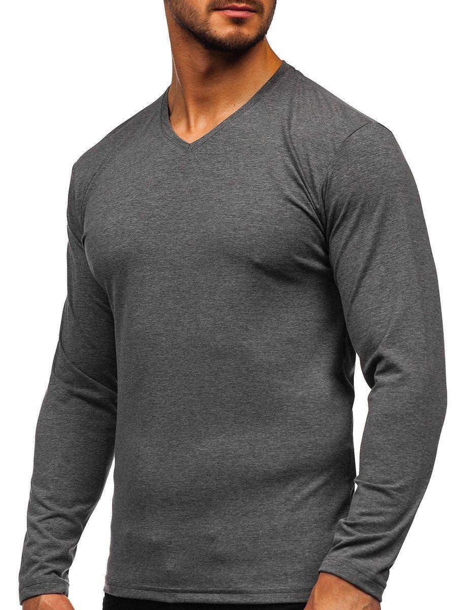 Bluză cu decolteu gri-antracti Bolf 172008 imagine