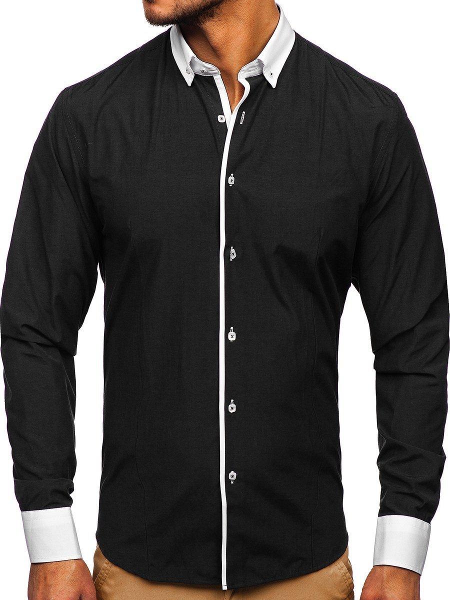 Cămașă elegantă pentru bărbat cu mâneca lungă neagră Bolf 2782