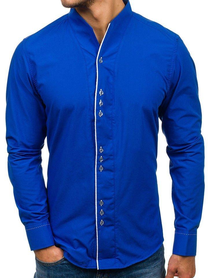 Cămașă cu mâneca lungă pentru bărbat albastru-cobalt Bolf 5720 imagine