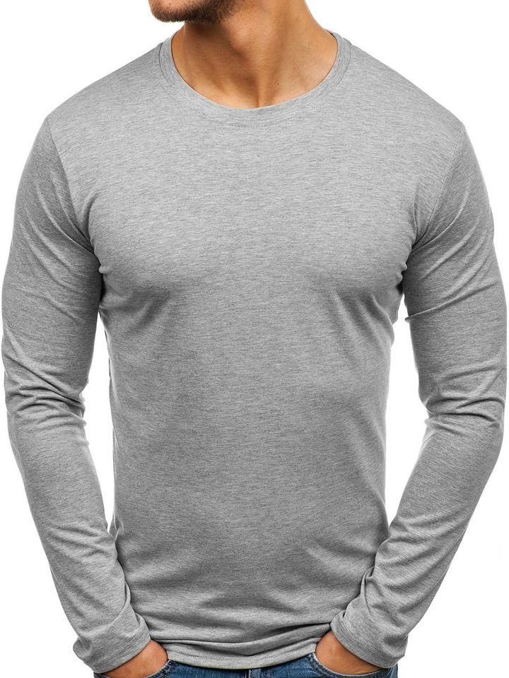 Long sleeve fără imprimeu pentru bărbat gri Bolf 135