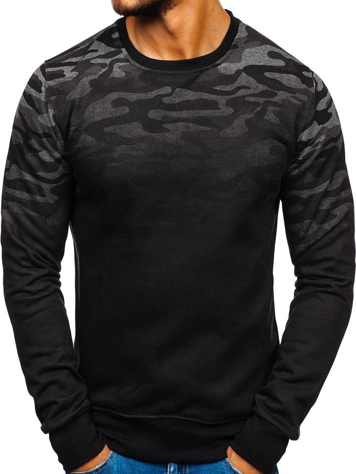 Bluză pentru bărbat fără glugă camuflaj-grafit Bolf DD133-2