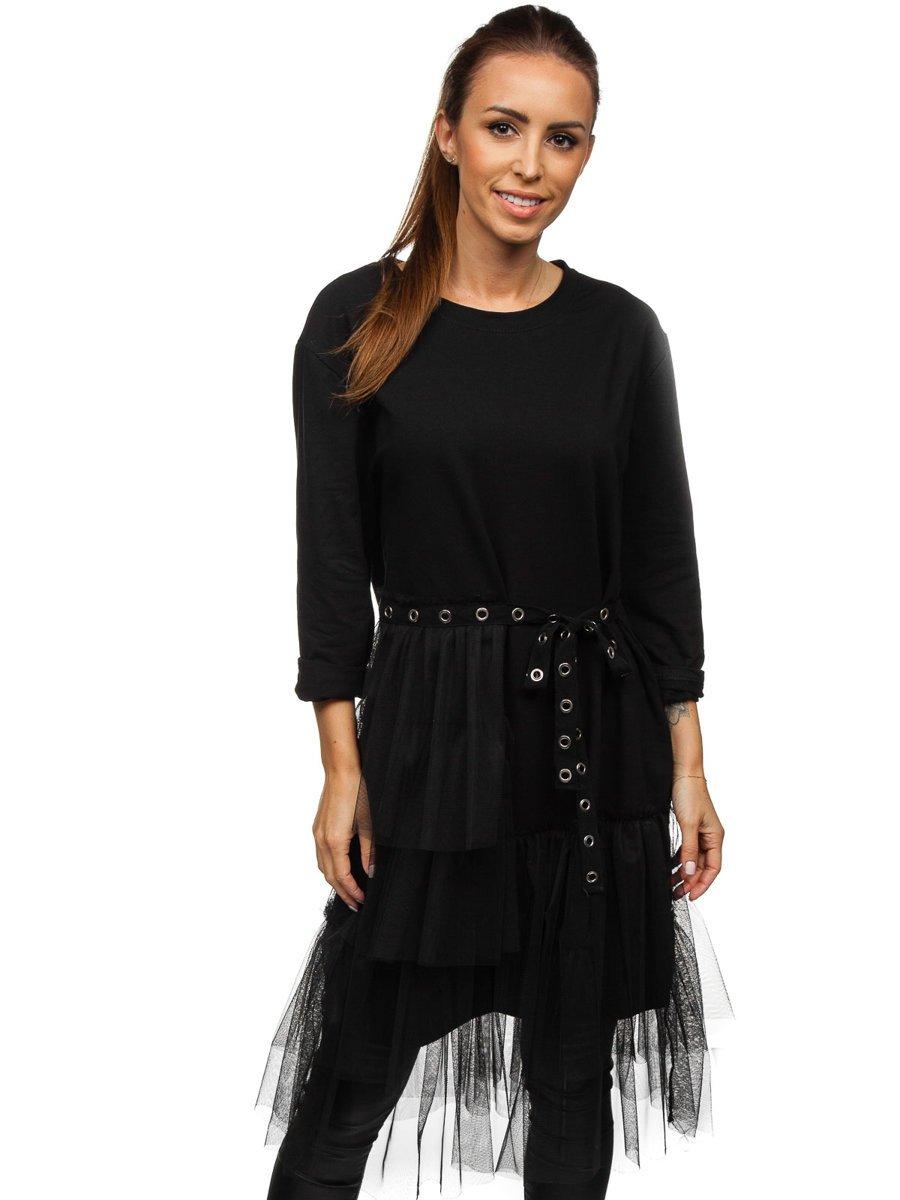 Rochie neagră dame cu imprimeu Bolf 30655