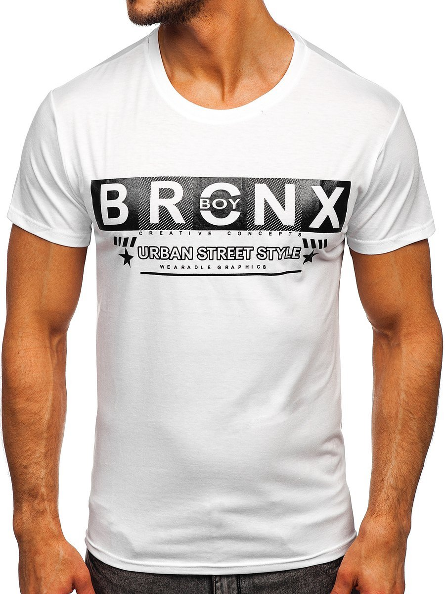 Tricou alb cu imprimeu Bolf KS2303 imagine