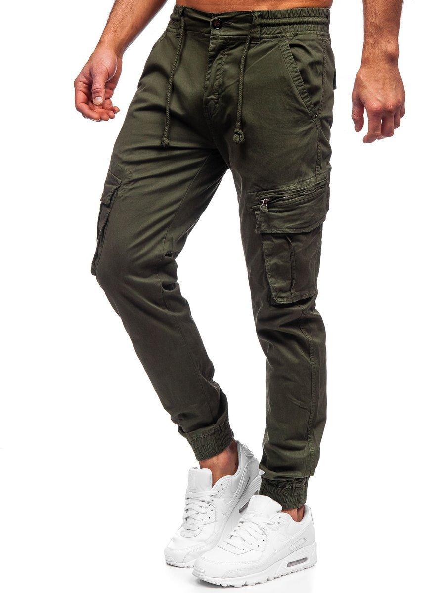 Pantaloni verde-inchis joggers cargo Bolf CT6707S0 imagine
