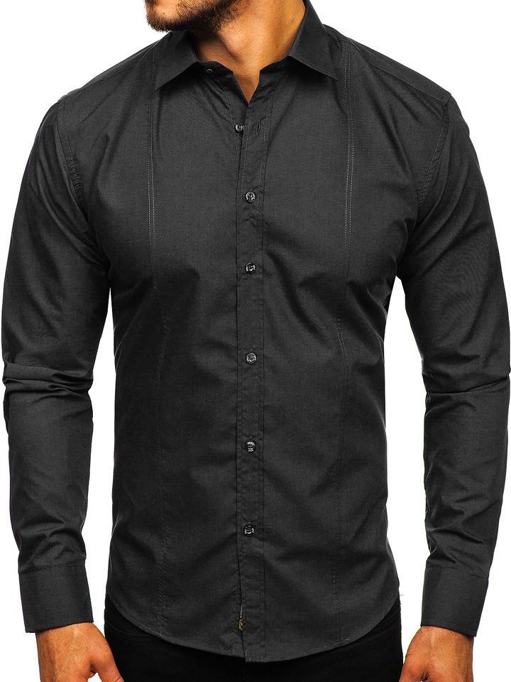 Cămașă elegantă bărbați neagră Bolf 4705G