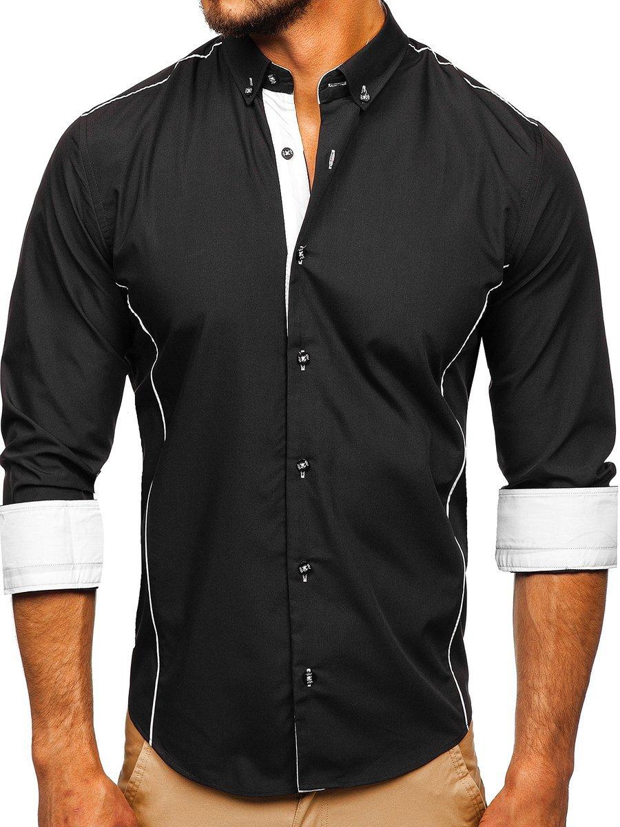 Cămașă elegantă pentru bărbat cu mâneca lungă neagră Bolf 5722