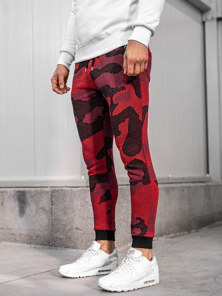 Pantaloni trening bărbați camuflaj-roșu Bolf 0917