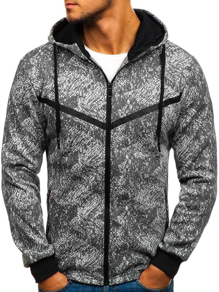 Bluză pentru bărbat cu glugă și fermoar gri Bolf HY302