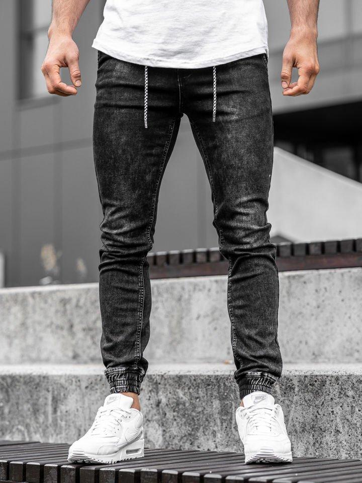 Blugi joggers bărbați negri Bolf KA1278