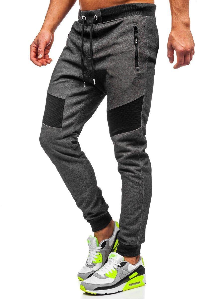 Pantaloni de trening negru-alb bărbati Bolf TC930