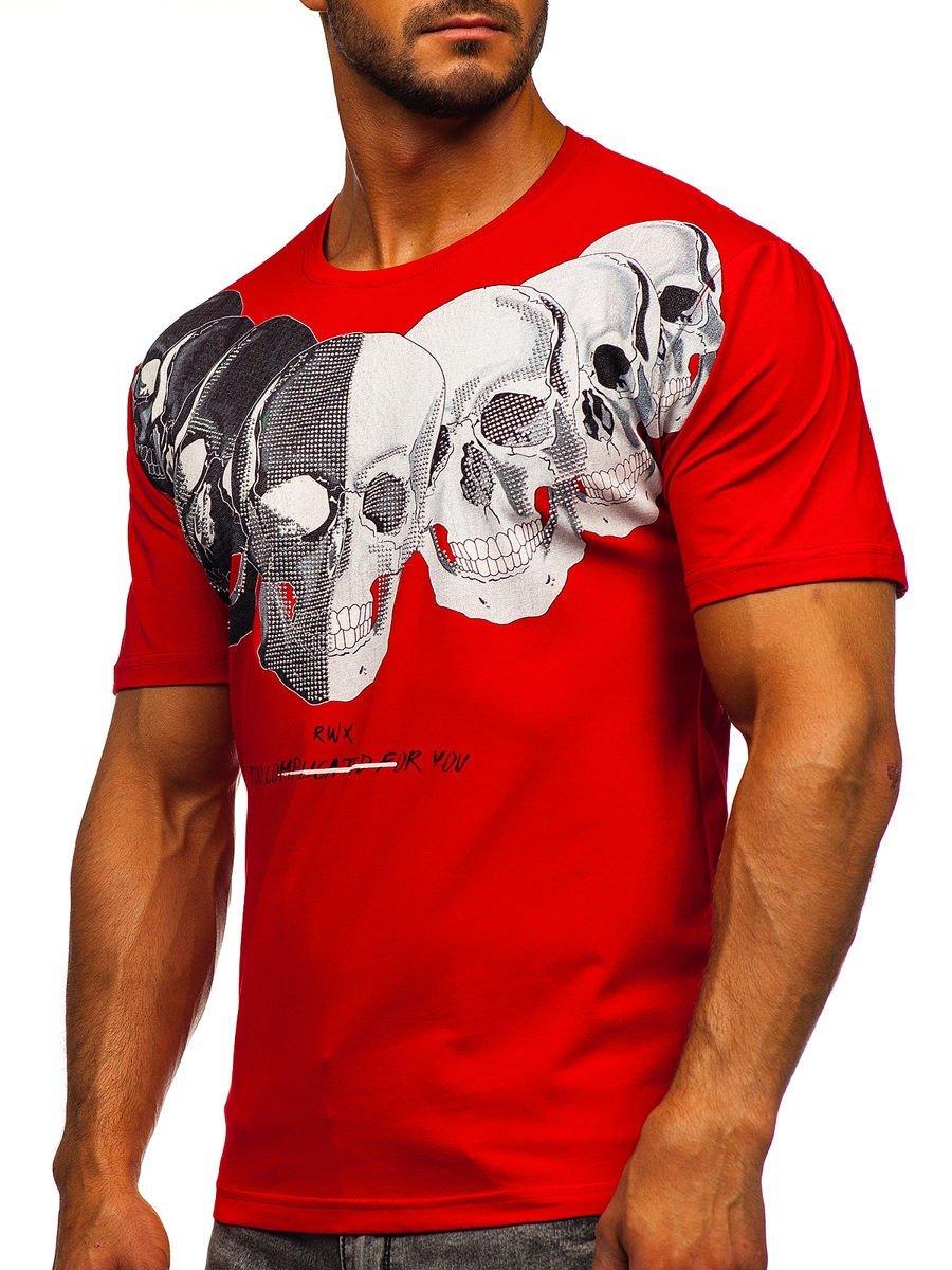 Tricou roșu cu imprimeu bărbați Bolf 192153