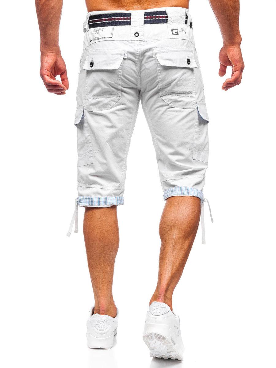 Pantaloni scurți cargo alb-negru cu curea Bolf S001BB imagine