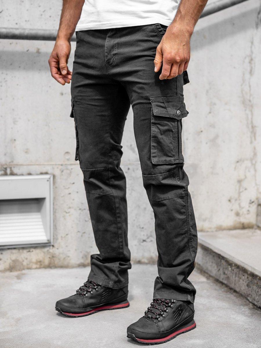 Pantaloni negri cargo cu curea Bolf 8813 imagine