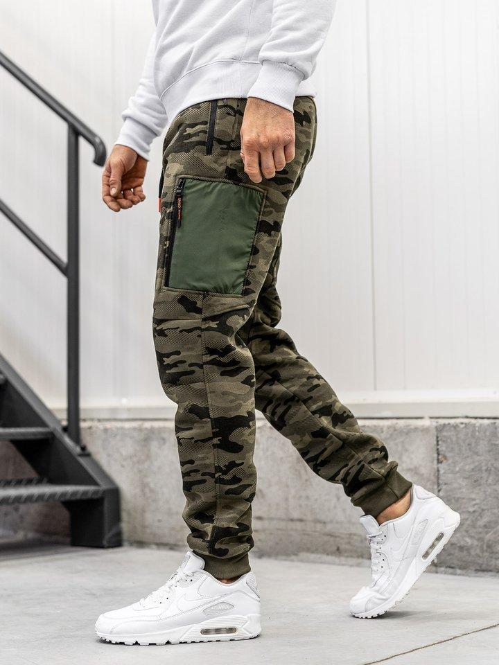 Pantaloni sportivi baggy pentru bărbat camuflaj-multicolor Bolf 3769F