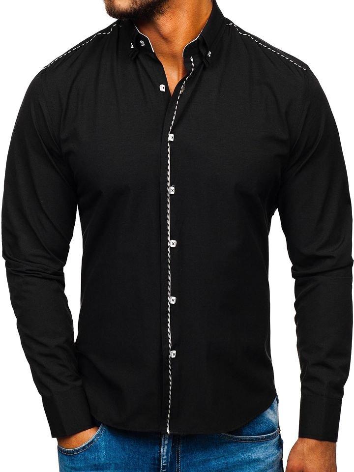 Cămașă elegantă bărbați negru Bolf 6920