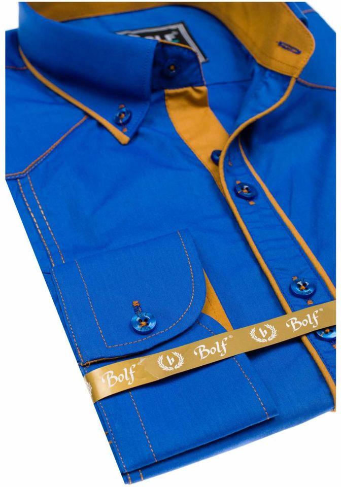 Cămașă elegantă cu mâneca lungă bărbați albastru Bolf 4777