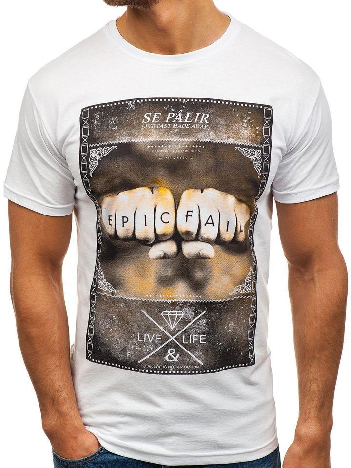 T-shirt pentru bărbat cu imprimeu alb Bolf 002 imagine