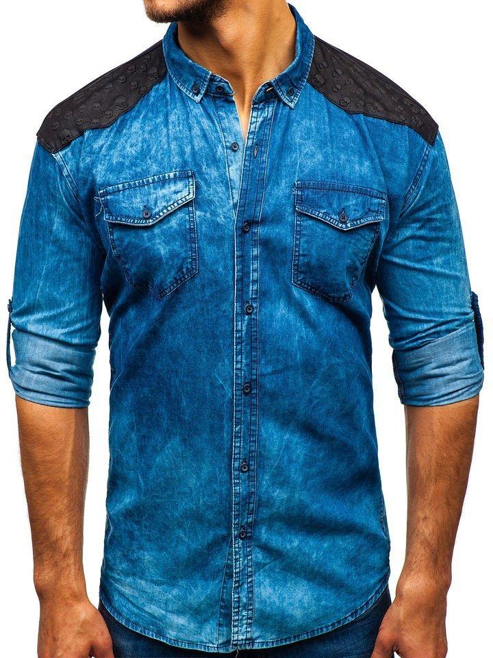 Cămașă denim cu imprimeu decorativ și mâneca lungă pentru bărbat albastră Bolf 0517