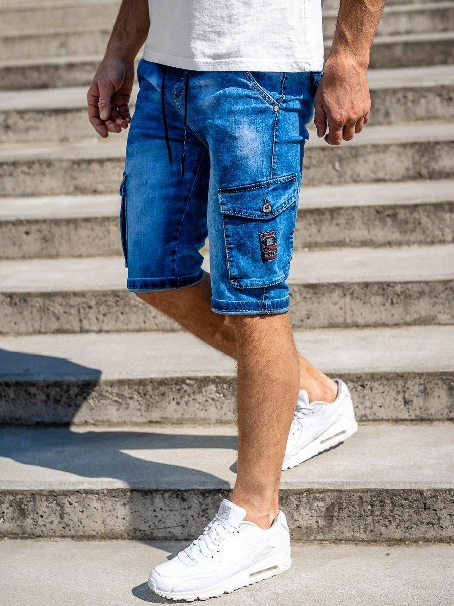Pantaloni scurți de blugi cargo bleumarin Bolf KR1076-2 imagine