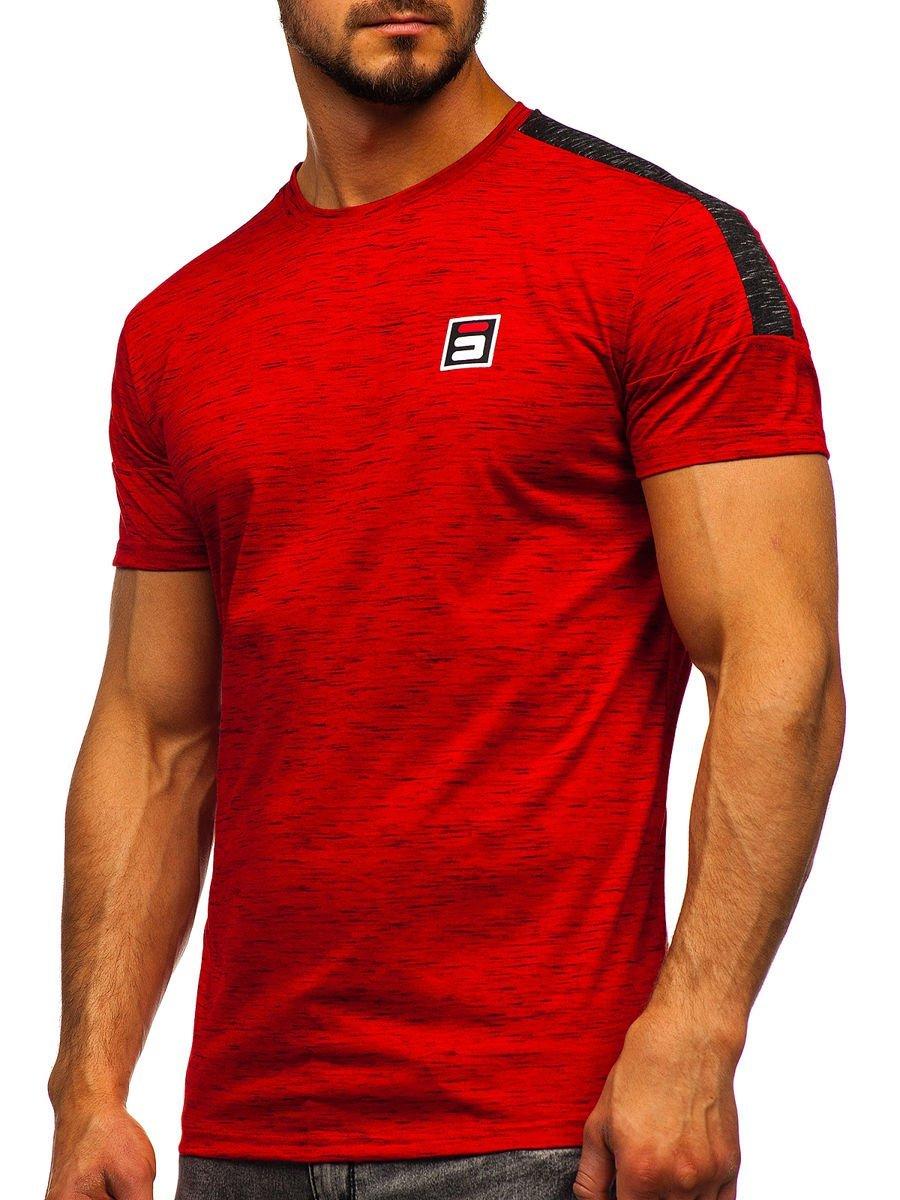 Tricou roșu cu imprimeu bărbați Bolf SS11127 imagine