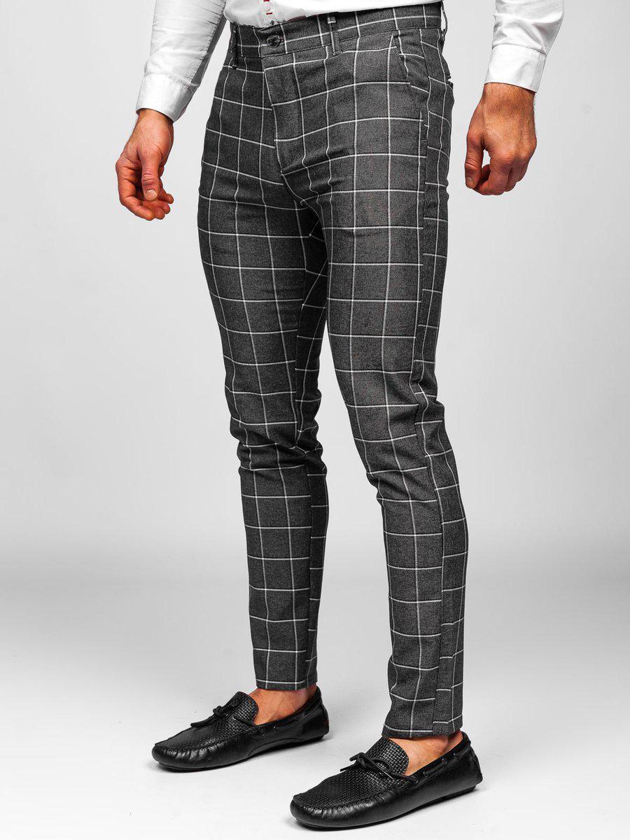 Pantaloni grafit-inchis chinos în carouri Bolf 0002 imagine