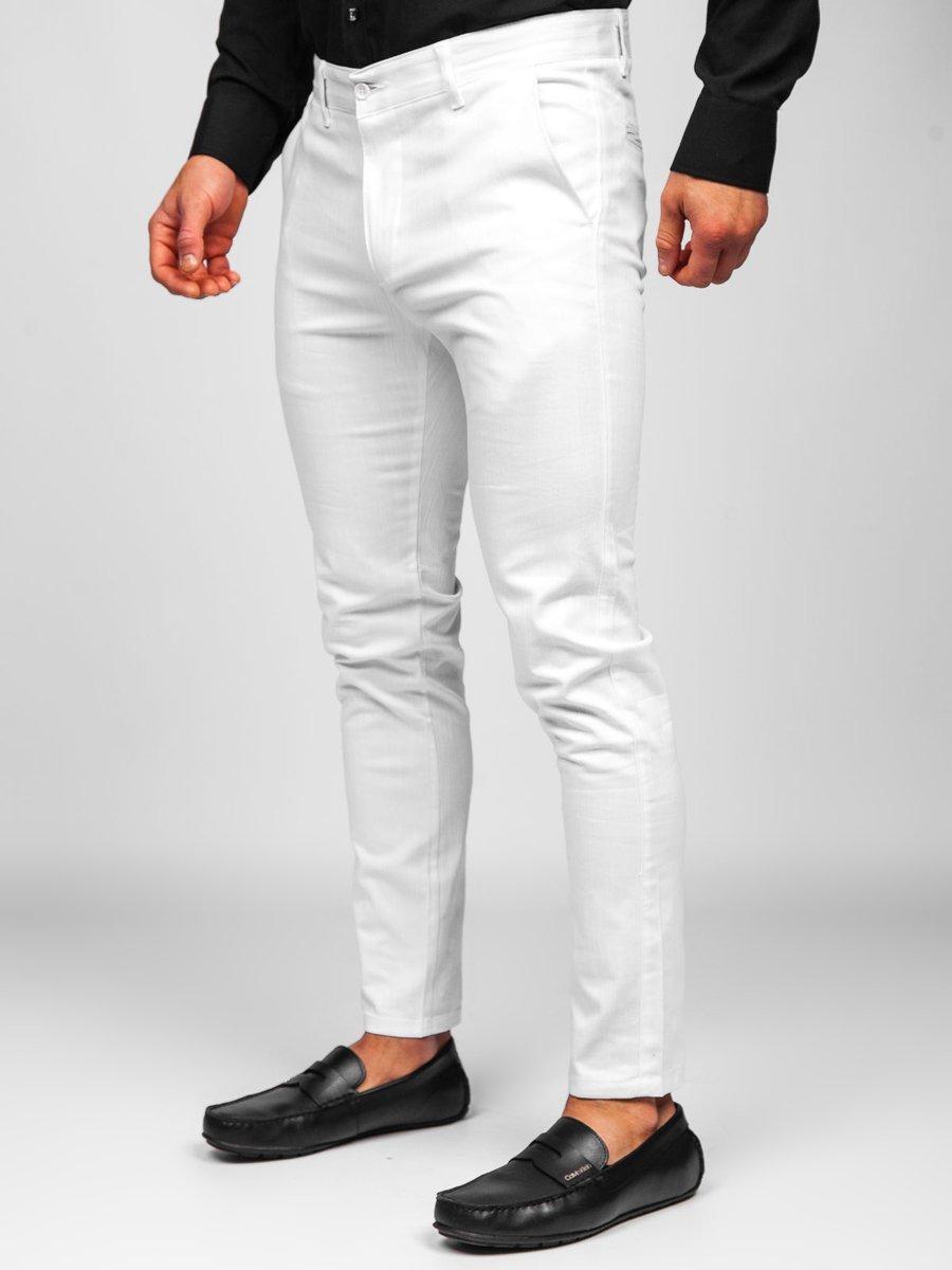 Pantaloni albi chinos Bolf 0018 imagine