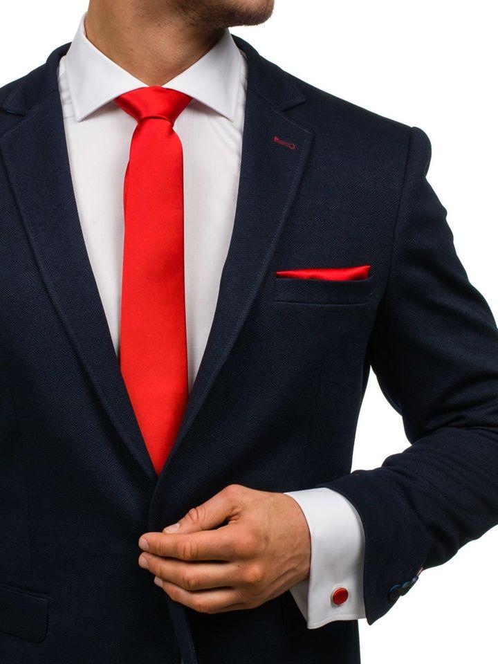Set pentru bărbat cravată, butoni, batistă roșie Bolf KSP01