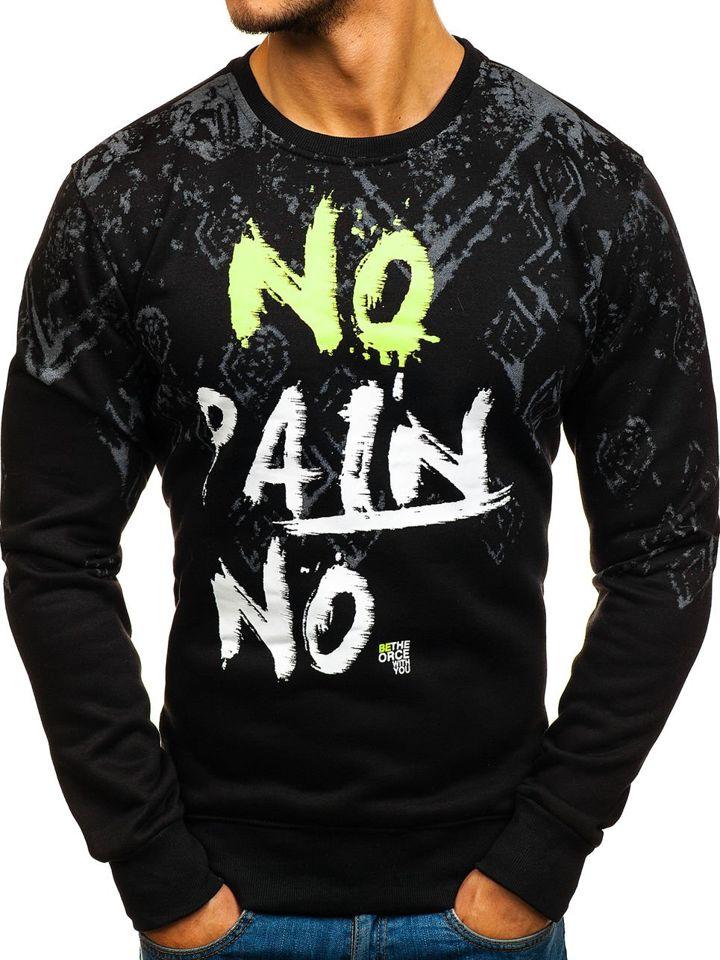 Bluză pentru bărbat fără glugă cu imprimeu neagră Bolf DD389